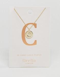 Позолоченное ожерелье с инициалом C на подвеске-диске Orelia - Золотой