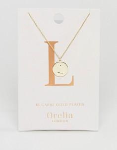 Позолоченное ожерелье с инициалом L на подвеске-диске Orelia - Золотой