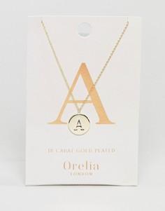 Позолоченное ожерелье с инициалом А на подвеске-диске Orelia - Золотой