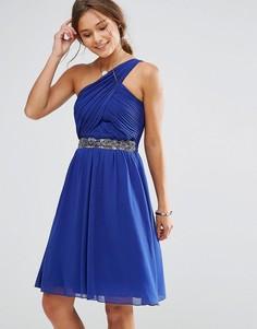 Короткое приталенное платье на одно плечо с отделкой на талии Little Mistress - Синий