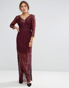 Кружевное платье макси с длинными рукавами Little Mistress - Красный