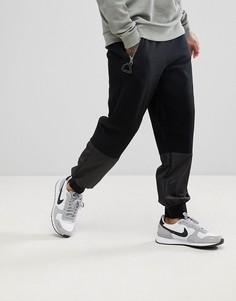 Джоггеры с заниженным шаговым швом, карманами на молнии и вставками ASOS - Черный