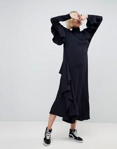 Платье миди с каскадными оборками ASOS WHITE - Темно-синий