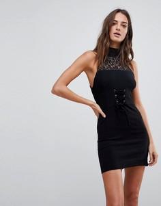 Облегающее платье с кружевной отделкой Free People - Черный