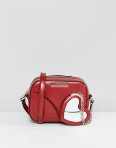 Сумка через плечо с декоративным сердцем на цепочке Love Moschino - Красный