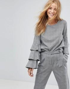 Блузка с оборками на рукавах Pimkie - Серый
