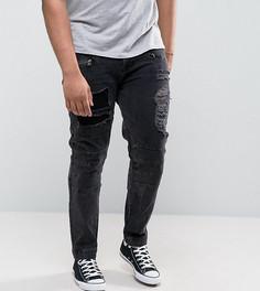 Черные джинсы скинни с молниями и рваной отделкой ASOS PLUS - Черный