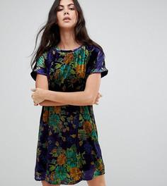 Бархатное платье-футболка оверсайз с цветочным принтом Glamorous Tall - Синий