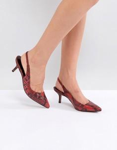Кожаные туфли на каблуке со змеиным принтом Carvela Aim DOrsay - Красный