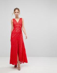 Кружевное платье макси с разрезом Aijek - Красный
