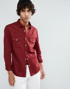 Бордовая джинсовая рубашка скинни в стиле вестерн ASOS - Красный