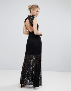 Кружевное платье макси с высоким воротом, открытой спиной и разрезом Aijek - Черный