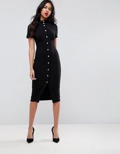Платье миди в корсетном стиле с высоким воротом ASOS - Черный