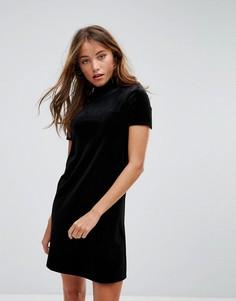 Бархатное платье мини с высоким воротом Pimkie - Черный