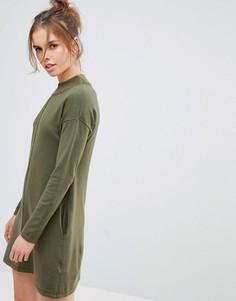 Свободное вязаное платье с высоким воротом Jack Wills - Зеленый