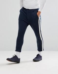 Темно-синие укороченные суженные книзу брюки с полосками ASOS - Темно-синий