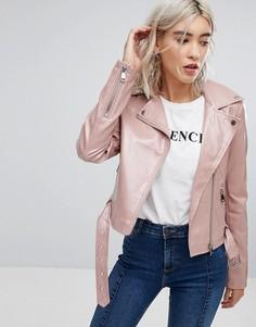Лакированная байкерская куртка Urban Bliss - Розовый