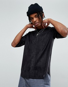 Черная замшевая oверсайз-футболка Mennace - Черный