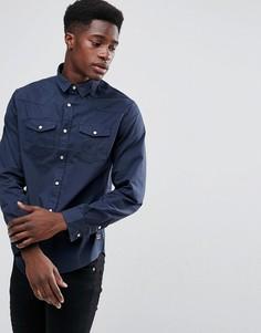 Рубашка с длинными рукавами и двумя карманами Brave Soul - Темно-синий