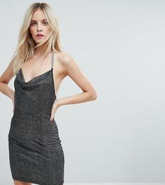 Блестящее платье мини со свободным воротом NaaNaa Petite - Черный