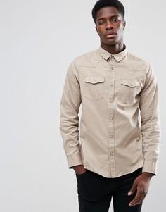 Рубашка с длинными рукавами и двумя карманами Brave Soul - Светло-бежевый