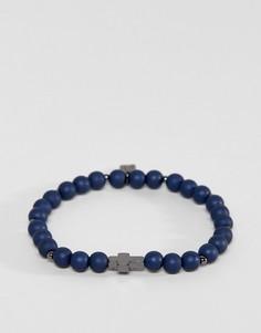 Браслет из бусин темно-синего цвета с крестом Icon Brand эксклюзивно для ASOS - Синий