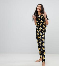 Пижама из футболки и леггинсов с принтом львов ASOS TALL - Черный