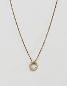 Золотистое ожерелье с восьмиугольной подвеской Icon Brand - Золотой