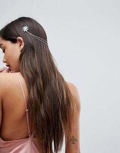 Украшение для волос с цепочками и камнями ASOS - Серебряный