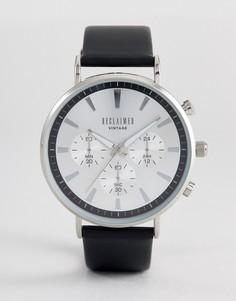 Черные часы-хронограф с кожаным ремешком Reclaimed Vintage Inspired - Черный