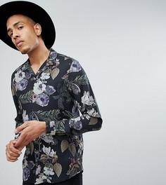 Рубашка классического кроя из вискозы с цветочным принтом ASOS TALL - Черный