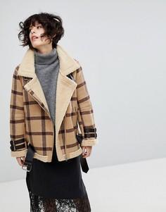 Куртка в клетку с подкладкой из искусственной овечьей шерсти J.O.A - Рыжий J.O.A.