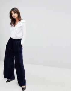 Бархатные плиссированные брюки с широкими штанинами J.O.A - Темно-синий J.O.A.