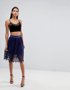 Кружевная юбка для выпускного Love Triangle - Темно-синий