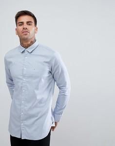 Темно-синяя фактурная приталенная рубашка BOSS Casual - Темно-синий