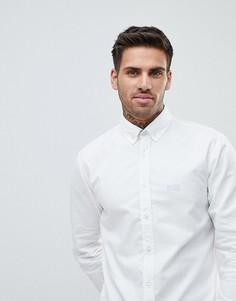 Белая фактурная узкая рубашка BOSS - Белый