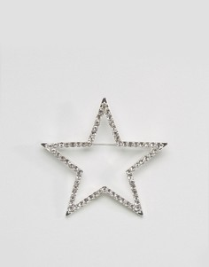 Брошь в форме звезды с отделкой стразами Monki - Серебряный