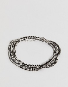 Серебристый браслет-цепочка Seven London - Черный
