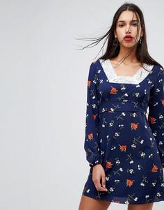 Свободное платье с цветочным принтом в стиле фолк Fashion Union - Темно-синий