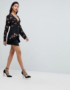 Мини-юбка с вышивкой Fashion Union - Черный