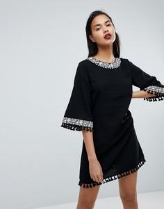 Свободное платье с бахромой Fashion Union - Черный