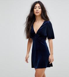 Короткое приталенное бархатное платье с пышными рукавами Fashion Union Petite - Темно-синий