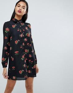 Платье-рубашка в стиле вестерн с цветочным принтом Fashion Union - Черный