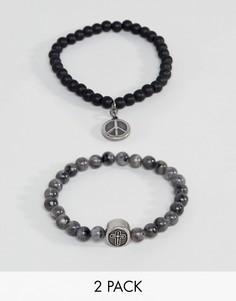 2 браслета из бусин (черный и серый) Seven London - Серый