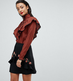Рубашка в клетку с оборками Fashion Union Tall - Красный