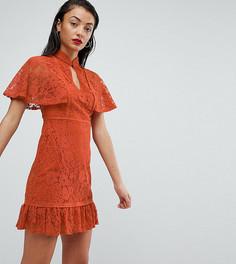 Платье с высоким воротом и баской Fashion Union Tall - Красный