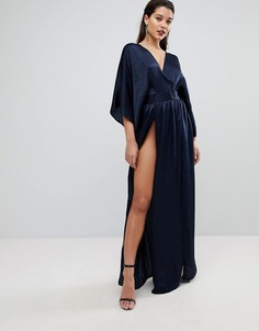 Платье-кимоно макси с двумя разрезами и боди Flounce London - Темно-синий