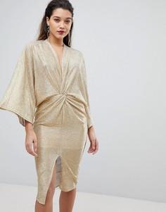 Золотистое платье-кимоно миди с запахом Flounce London - Золотой