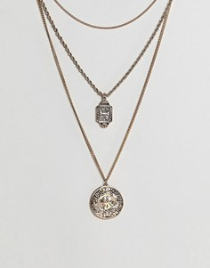 Ожерелье в несколько рядов с подвесками в винтажном стиле ASOS - Золотой