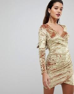 Бархатное платье мини с запахом и сборками Flounce London - Золотой